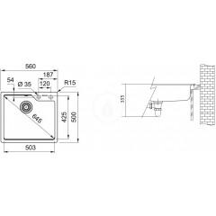 Franke Fragranitový dřez UBG 610-56, 560x500 mm, tmavě hnědá 114.0582.787