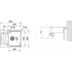 Franke Fragranitový dřez UBG 611-62, 620x500 mm, sahara 114.0582.807