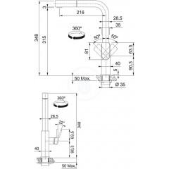 Franke Dřezová baterie FC 0442 s vytahovací koncovkou, černá 115.0550.442