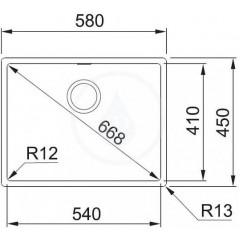 Franke Nerezový dřez BXX 210/110-54, 580 x 450 mm, sifon 127.0395.015