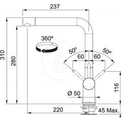 Franke Páková dřezová baterie Active Plus FN 6100.424, chrom/kašmír 115.0373.811