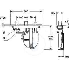 Hansa Montážní těleso pro vanovou baterii, 3-otvorová instalace 53070200