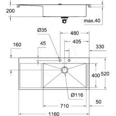 Grohe Dřez K1000 s automatickým odtokem, 1160x520 mm 31582SD0