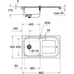 Grohe Dřez K300 s automatickým odtokem, 860x500 mm 31563SD0