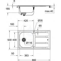 Grohe Dřez K400 s automatickým odtokem, 860x500 mm 31566SD0