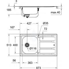 Grohe Dřez K400+ s automatickým odtokem, 873x513 mm 31568SD0