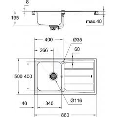 Grohe Dřez K500 s automatickým odtokem, 860x500 mm 31571SD0