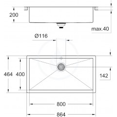 Grohe Dřez K700, 864x464 mm 31580SD0