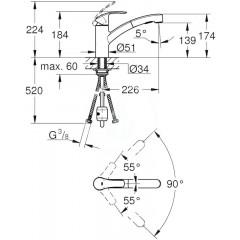 Grohe Páková dřezová baterie, supersteel 30305DC0