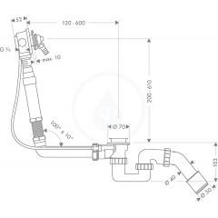Hansgrohe Základní těleso pro vrchní sadu vanového výtoku s odtokovou a přepadovou soupravou pro speciální vany 58126180