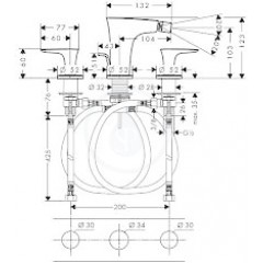 Hansgrohe Tříotvorová bidetová baterie, chrom 15273000