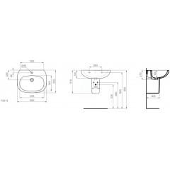 Ideal Standard Umyvadlo 650x500x210 mm, s 1 otvorem pro baterii, bílá T351301
