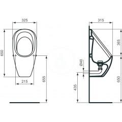 Ideal Standard Pisoár Waterless 325x315x650 mm, bílá E567501