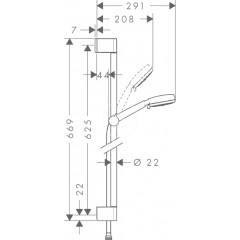 Hansgrohe Sprchová souprava Multi, 3 proudy, 0,65 m, bílá/chrom 26650400