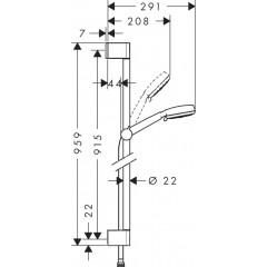 Hansgrohe Sprchová souprava Multi, 3 proudy, sprchová tyč 900 mm, bílá/chrom 26656400