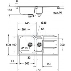 Grohe Dřez K400 s automatickým odtokem, 970x500 mm 31567SD0