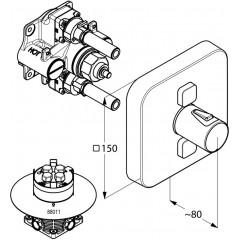 Kludi Termostatická baterie pod omítku, pro 2 spotřebiče, chrom 388110538