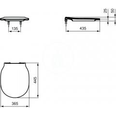 Ideal Standard WC sedátko ultra ploché, 365x445x50 mm, bílá E036501