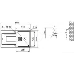 Franke Fragranitový dřez UBG 611-86, 860x500 mm, onyx 114.0582.826