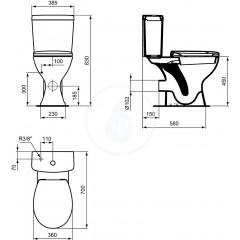Ideal Standard WC kombi mísa, bezbariérová, 360x450x660 mm, zadní odpad, bílá E883201