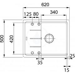 Franke Fragranitový dřez BFG 611-62, 620x500 mm, grafit 114.0285.095