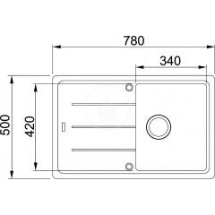 Franke Fragranitový dřez BFG 611-78, 780x500 mm, tmavě hnědá 114.0285.189