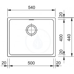 Franke Granitový dřez KBG 110-50, 540x440 mm, tmavě hnědá 125.0176.646