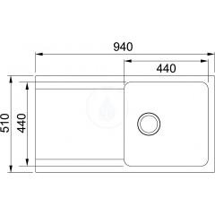 Franke Tectonitový dřez OID 611, 940x510 mm, černá 114.0288.543