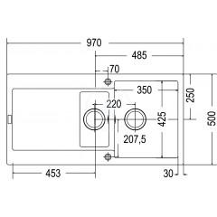 Franke Fragranitový dřez MRG 651, 970x500 mm, bílá-led 114.0120.249