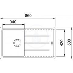 Franke Fragranitový dřez BFG 611-86, 860x500 mm, kašmír 114.0494.911