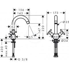 Hansgrohe Stojánková umyvadlová baterie 150, s odtokovou soupravou, chrom 71270000