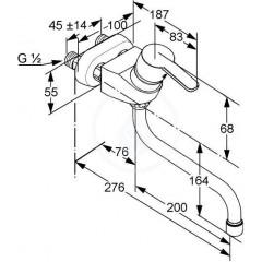 Kludi Páková dřezová baterie, rozteč 45 mm, chrom 379140575