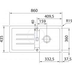 Franke Kuchyňský set G26, granitový dřez STG 614, bílá-led + baterie FC 9547.031, chrom 114.0265.653