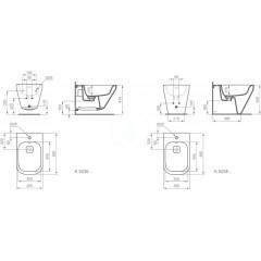 Ideal Standard Závěsný bidet, 355x560x350 mm, bílá K523601