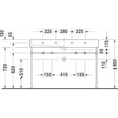 Duravit Dvojumyvadlo 1200x470 mm, se 2 otvory pro baterie, alpská bílá 0454120024