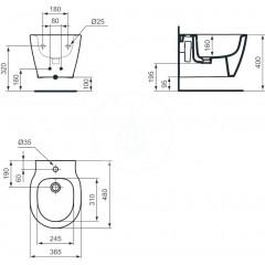 Ideal Standard Závěsný bidet, 365x480x305 mm, bílá E119201