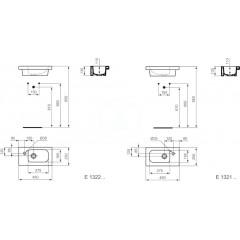 Ideal Standard Umývátko nábytkové 450x250x130 mm, 1 otvor pro baterii vpravo, bílá E132101
