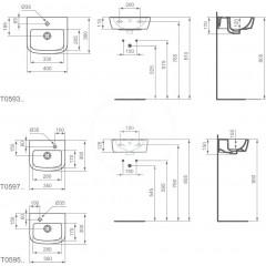 Ideal Standard Umývátko 350x300x150 mm, 1 otvor pro baterii vpravo, bílá T059701