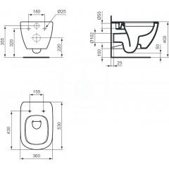 Ideal Standard Závěsný klozet, Rimless, bílá T350301