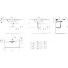Ideal Standard Umyvadlo 1000x490x175 mm, 1 otvor pro baterii, bílá E812601