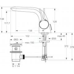 Ideal Standard Páková umyvadlová baterie s odtokovou soupravou, chrom A4260AA