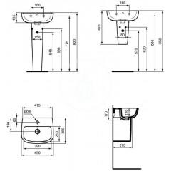 Ideal Standard Umývátko, 450x360 mm, bílá T281101