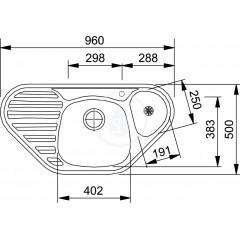 Franke Kuchyňský set N42, nerezový dřez MON 681 E + baterie FB 250, chrom + dávkovač HC 20 101.0283.236