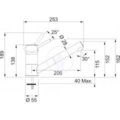 Franke Páková dřezová baterie FG 7486.099 s vytahovací koncovkou, chrom/grafit 115.0297.488