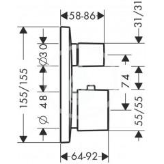 Hansgrohe Termostatická baterie pod omítku s uzavíracím a přepínacím ventilem, chrom 15771000