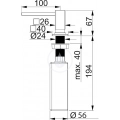 Franke Dávkovač saponátu, pro otvor 25-35 mm, 250 ml, chrom 119.0176.057