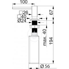 Franke Dávkovač saponátu, pro otvor 25-35 mm, 250 ml, nerez 119.0176.059