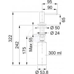 Franke Dávkovač saponátu, 300 ml, chrom 119.0157.384