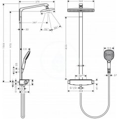 Hansgrohe Sprchový set s termostatem, 360 mm, chrom 27112000