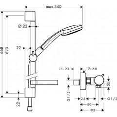 Hansgrohe Sprchový set Vario s termostatem, 3 proudy, chrom 27034000